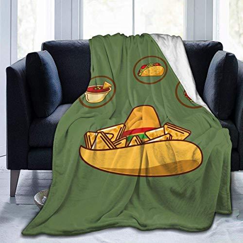 AEMAPE Köstlicher Hut Nacho Sauce Taco und Burrito warme Decke für Baby Kinder Fuzzy Lightweight Bed Throw Blankets Dekoration Geschenk