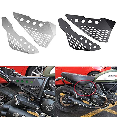 Motorcycle Accessories Aluminum Side Mid frame Cover Panel Protector Guard Fairing for Ducati Scrambler Sixty/Desert Sled/Full Throttle/Urban Enduro (Black)