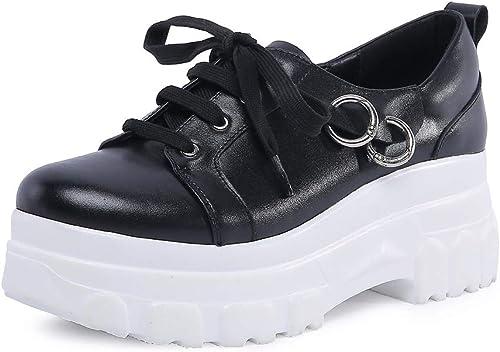 HOESCZS 2018 Cuir De Vachette Vachette Grande Taille 34-42 Solide Plate-Forme De Mode en Gros Femme Chaussures Femmes paniers Chaussures à Lacets Femme  livraison gratuite et rapide disponible