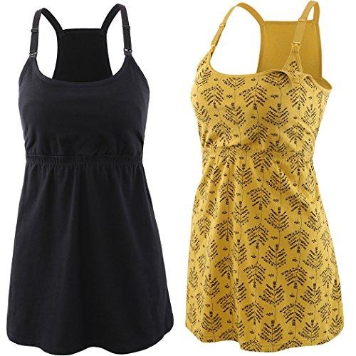 KUCI Damen still-top tank-cami, still-schlaf-bh stillen tops für schwangerschaft klein schwarz + gelb print / 2pack