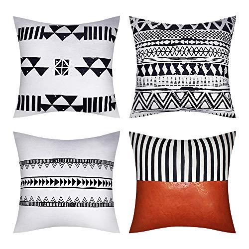 TINYSUN Outdoor Fall Floor Pillow Seating Covers for Adults Set of 4,Stylish Home Décor Sturdy Cotton Leather Pillow Cushion Case for Chair Sofa Car Couch,W18x L18 Inch,Triangle Set