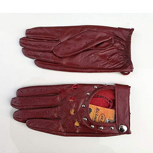 Dgtyui Guanti da donna monopetto sezione sottile moda rivetto cava stile primavera ed estate guida guanti da guida - Vino rosso X 6 1/2