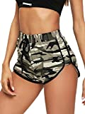 SOLY HUX Women's Tie Front Elastic Waist Workout Yoga Track Shorts Green X-Large