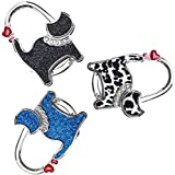 ManLee 3pz Ganchos Cuelga Bolsos Mesa Portatil Soporte Monedero Cuelga Bolsos Plegable con Forma de Gato Regalo para Mujeres Niñas Novias 50 x 65 mm