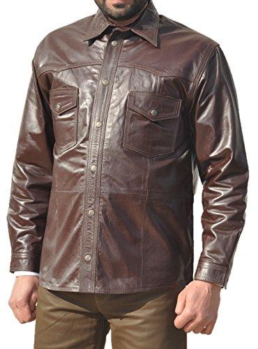 Fuente Leather Wears Molto in pregiata Camicia da uomo in camicia da donna in 100% in vera pelle marrone