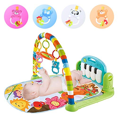 Baby Play Mat Activity Gym with 5 Hanging Toys, Kick and Play Piano Gym Mat with Music and Lights, Baby Jungle Gym for Infants and Toddlers Aged 0 to 12Months