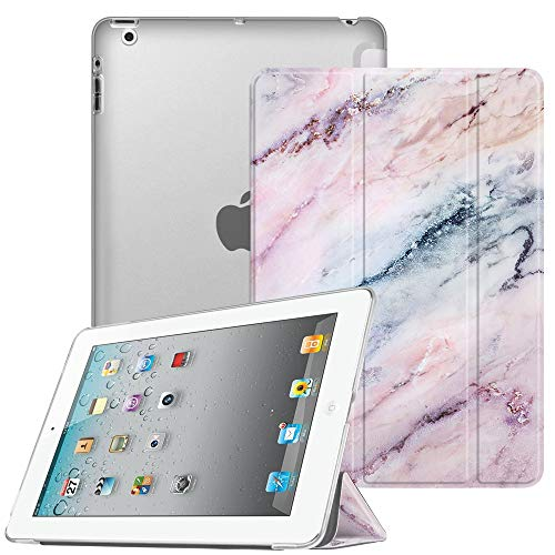 Fintie iPad 2/3 / 4 Case - Lightweight Smart Slim Shell Translucent Frosted Back Cover Supports Auto Wake/Sleep for iPad 4th Generation with Retina Display, iPad 3 & iPad 2, Marble Pink
