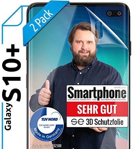 [2 Stück] 3D Schutzfolien kompatibel mit Samsung Galaxy S10 Plus - [Made in Germany - TÜV NORD] HD Bildschirmschutz-Folie - Hüllenfre&lich – Transparent – kein Schutz-Glas - Panzer-Folie TPU