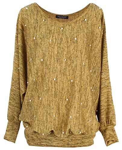 Emma & Giovanni - Pullover/Sweatshirt mit Perlen Loose Fit - Damen (Senf, L-M)