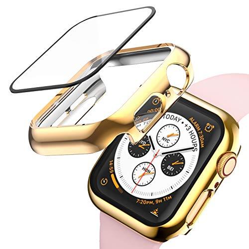 ANBEST Kompatibel mit Apple Watch Series 6/Series 5/Series 4 Hülle 40mm, Vollschutz Hard Watch Fall Eingebauter Bildschirmschutz aus gehärtetem Glas für Apple Watch SE Smart Watch, Gold