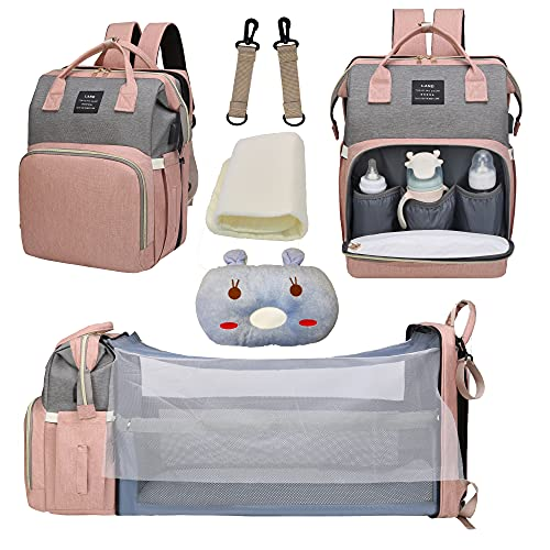 Diaper Bag Backpack, Baby Nappy Changing Bags Multifunctional Travel Backpack with Changing Station, Large Capacity, Waterproof, Sunshade, Breathable Mosquito Net, Baby Pillow Pink