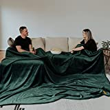 Big Blanket Co Original Stretch Forest Green | 10' x 10' Extra Large Throw Blanket | Soft, Cozy Outdoor Blanket for Summer and Giant Picnic Blanket | Machine Washable & Temperature Regulating