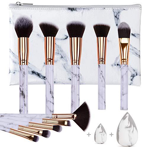 HEYMKGO Zestaw profesjonalnych pędzli do makijażu kabuki podkład, miękkie i bezzapachowe, naturalne włosie syntetyczne, 10 sztuk + 2 gąbki + torba kosmetyczna z marmurowym wzorem