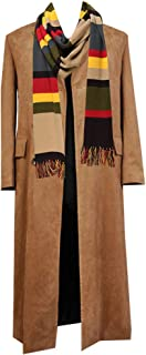 Adult Mens Brown Black Long Coat Trench Coat Jacket with Scarf