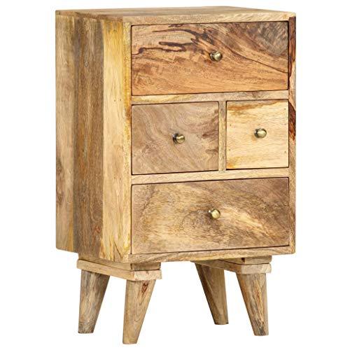 vidaXL Mangoholz Massiv Nachttisch mit 4 Schubladen Nachtschrank Nachtkommode Nachtkonsole Schlafzimmer Kommode Nachtschränkchen 36x30x60cm
