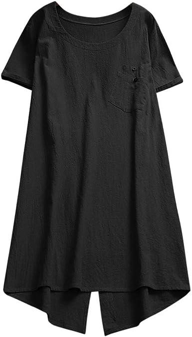 DressLksnf Camiseta Talla Grande Moda para Mujer Tops de Lino Camisa Irregular Cómodo Camisero Color Puro Cuello Redondo Top con Bolsillo Básico ...