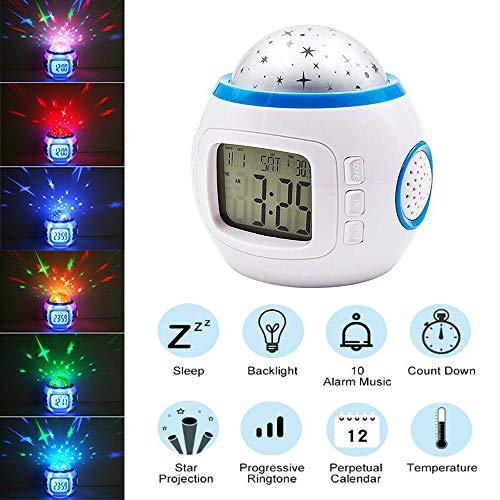 Hanguang LED-Wecker für Kinder, Nachtlicht, Projektor, Stern, Nachtlicht, Musik mit Anzeige von Temperatur und Datum