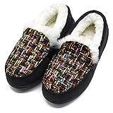 ONCAI Memory Foam Zapatillas De Casa Para Mujer Felpa Pantuflas Mocasines Calentar Invierno Tweed Zapatos para Interior Exterior Caucho Suela,Negro 39