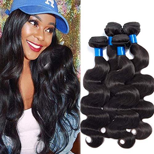 Cranberry Hair Unprocessed Peruvian Virgin Hair Body Wave 4 Bundles Virgin Human Hair Extensions Weaves Natural Black Color Hair(16 18 20 22)