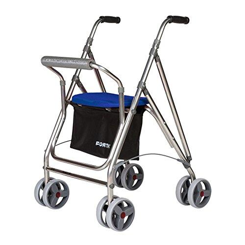Forta Andador para Personas Mayores, Rollator de Aluminio con Asiento, Andador de Aluminio Plegable, Color Azul