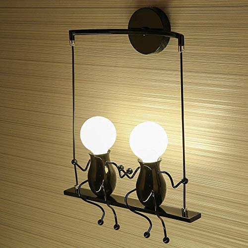 SXFYHXY Wandleuchte Moderne LED Kreative Kinder Wandleuchte Art Deco E27 Basis Eisen Halter für Nacht Schlafzimmer Arbeitszimmer Korridor Treppe Balkon,BLACK2