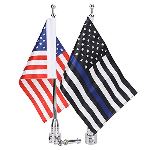 E-Most Motorcicle Flag and Flag Mount 6 x 9 Inch Thin Blue Line Flag with Flag Holder 1/2'' Flagpole Brackets Fit for Harley Honda Goldwing CB VTX CBR Suzuki Yamaha