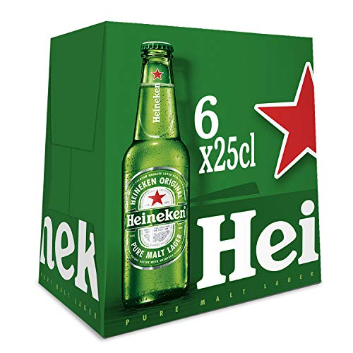 Heineken Cerveza - Pack de 6 Botellas x 250 ml (Total: 1.50 L)