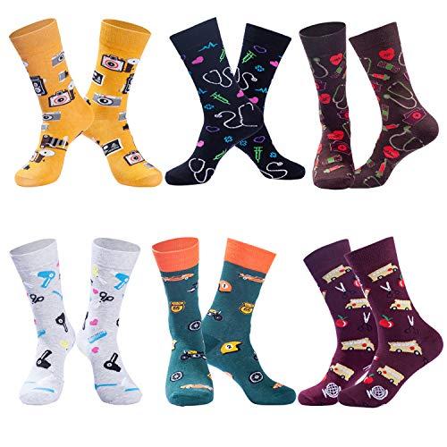 Men's Christmas Socks Funny Crew Socks 6 Pairs Now $4.99