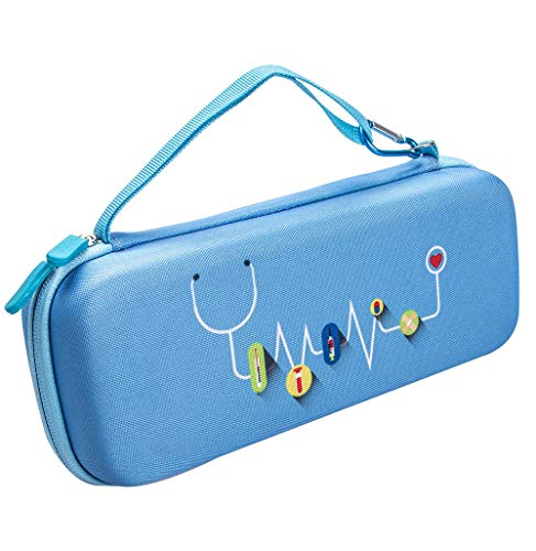 Hard Stethoscope Carrying Case for 3M Littmann Classic III, Lightweight II S.E, Cardiology IV Diagnostic, MDF Acoustica Deluxe Stethascopes and More- Mesh Pocket for Nurse Accessories (Blue-GC)