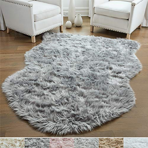 Gorilla Grip Original Premium Faux Sheepskin Fur Area Rug, Soft Room Area Rug, 5 FT x 7 FT, Bedroom Floor Rugs, Softest Feeling Carpet, Best Touch, Luxury Modern Room Décor, Sheepskin, Gray