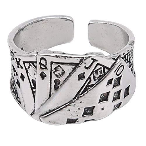QQAAZZ Anillo de poker punk creativo, anillo de suerte, joyería de mano, accesorios de decoración, regalo para mujeres, hombres, hombres y mujeres