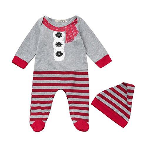 Hirolan Weihnachten Baby Strampler Set Neugeborene Walkoverall Mädchen Jungen Lange Ärmel Strampelhöschen Streifen Overall Hut 2Stk Outfit Set Baumwolle Kleider (70, Grau)