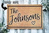 Heartful Custom Doormat Family Name Welcome Doormat | Personalized Doormat | Housewarming Gift | Front Door Mat | Closing Gift | Gift From Realtor