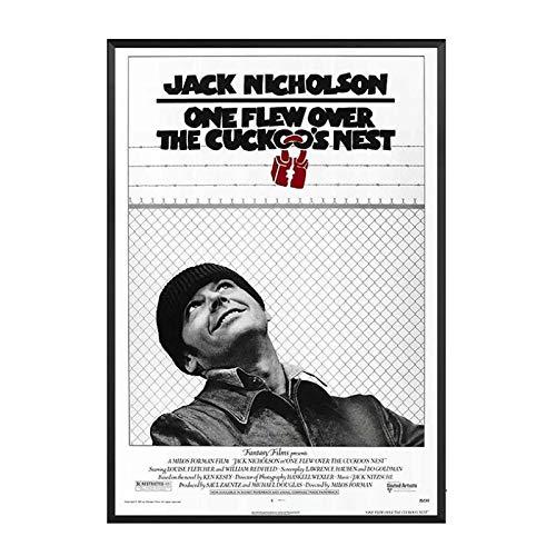 WXUEH Qualcuno Volò sul Nido del Cuculo Poster E Stampe di Film Classici Immagini della Pittura di Arte della Parete per La Decorazione Domestica -40X60Cmx1Pcs-Senza Cornice