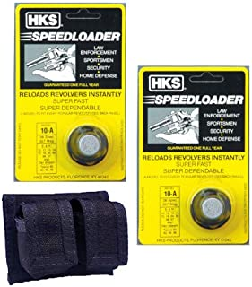 Westlake Market, HKS 2-Pack 10-A Speed Loader 357 Magnum, Fits S&W K Frame, Taurus Mid Frame, Rossi 971 Plus One Double Pouch Case Plus Free Sample of Patches