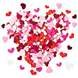 MALLMALL6 500Pcs Heart Felt Stickers for Valentine's Day Embellishments Party Decorations for Valentines Wedding School DIY Felt Collages and Crafts 5 Kinds Pre-Cut Heart Shapes for Kids Scrapbook