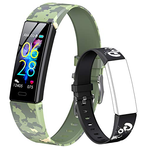 GOGUM Slim Fitness Tracker with Replacement Band for Kids Girls Boys Teens Age 5-16,Heart Rate Monitor,Activity Tracker,Alarm Clock,Pedometer,Sleep Monitor,Step Tracker Counter Watch (Black)