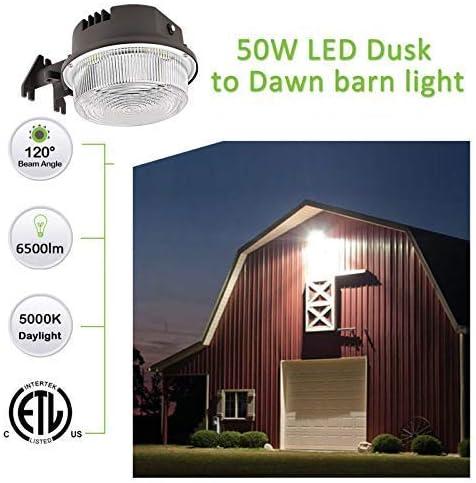 LED Barn Light 50W,Paktonvo 5000K Daylight 6500LM Dusk to Dawn LED Outdoor Yard Light with Photocell,400W MH//HPS Equiv,ETL Listed LED Security Area Light for Farm Porch Backyard Street Lighting