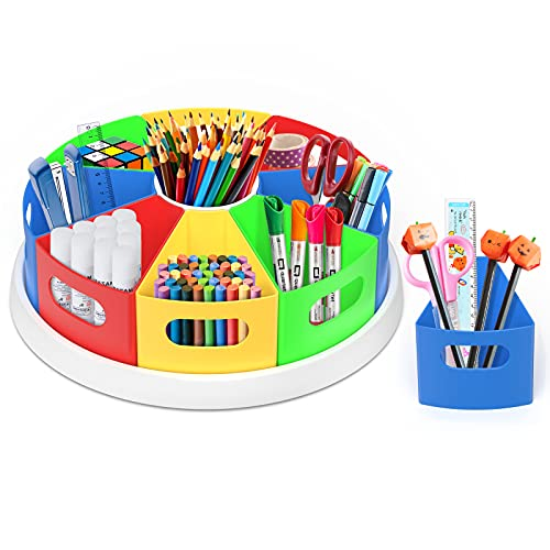 Rotating Art Supply Organizer for Kids - 360 Rotating Lazy Susan 12' Caddy for Desk, Table, Homeschool, Classroom, Teacher Come Back To School-9 Removable Bins of Durable ABS