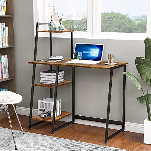 Schreibtisch Computertisch PC Tisch Bürotisch Officetisch Arbeitstisch mit Ablage für Büro Wohnzimmer Schule, aus Holz und Metall, 100 * 50 * 118.5 CM, Industriestil Stabil (Vintagebraun )