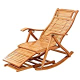 FTFTO Office Life Bamboo Rocking Chair Folding Chair Home Napping Chair Cool Chairs Old Man Chair Lunch Break Wooden Chair with Backrest and Foot Massager