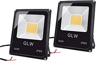 GLW 50W LED Landscape Lights 12V-60V Flood Lights Warm White IP65 Waterproof Walls Trees Flags Outdoor Spotlights with Spike Stand(2 Pack)