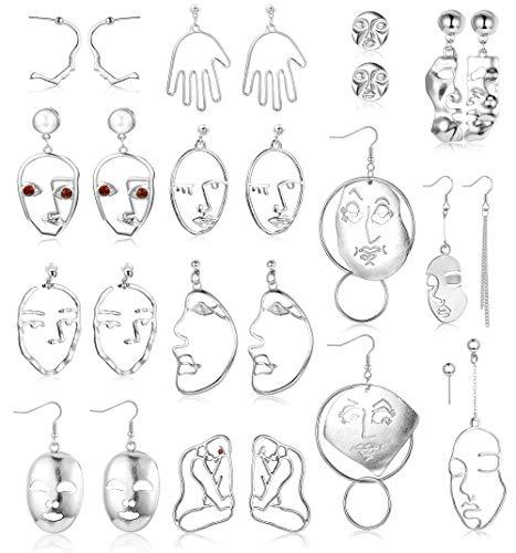 Finrezio 13 Paare Gesicht Ohrringe Set für Frauen Damen Abstrakte Kunst Hängend Ohrringe Baumeln Statement Ohrringe Schmuck Silber