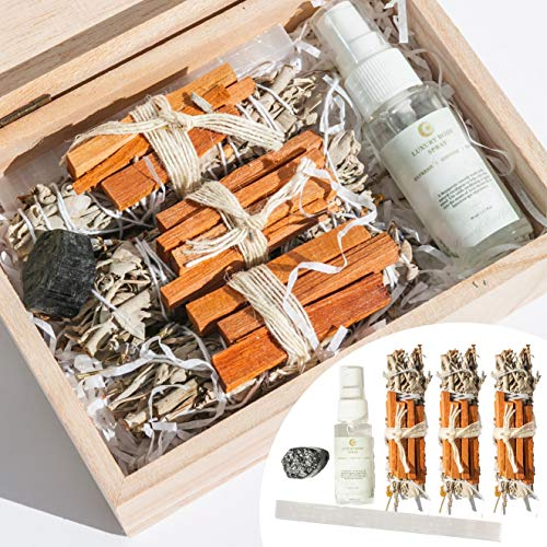 """THE MINDFUL COLLECTIVE SAGE Smudge KIT for Home Cleansing, Meditation Accessories: with 5"""" Lavender Sage Sticks (Pack of 3), Palo Santo Sticks, Selenite Wand & Black Tourmaline Healing Crystals"""