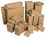 100 Assorted Kraft Cotton Filled Jewelry Gift Boxes Pendant Charm Bracelet Ring