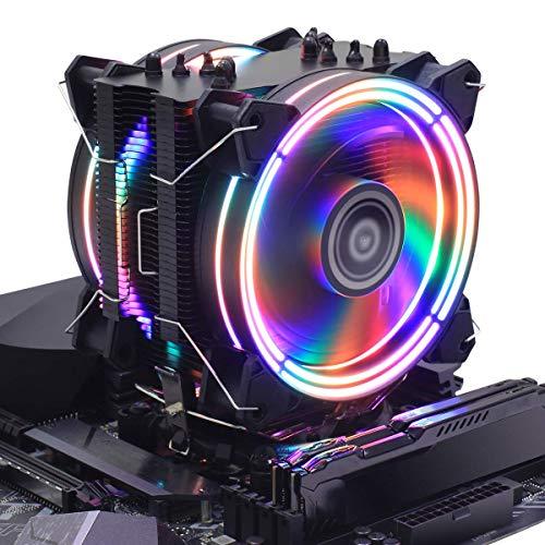CPU Cooler RGB Black Edition CPU Air Cooler, H120D RGB Fan, 6 CD 2.0 Heatpipes for AMD Ryzen/Intel LGA1151 (Black) (Black)