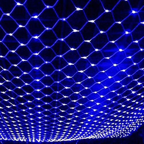 Luces de Cadena Solar, 2mx1.5m 120LED Luces de Cadena de Red Solar Luces de Cadena Solares al Aire Libre Patio Trasero Luz de Red a Prueba de Agua (Azul)