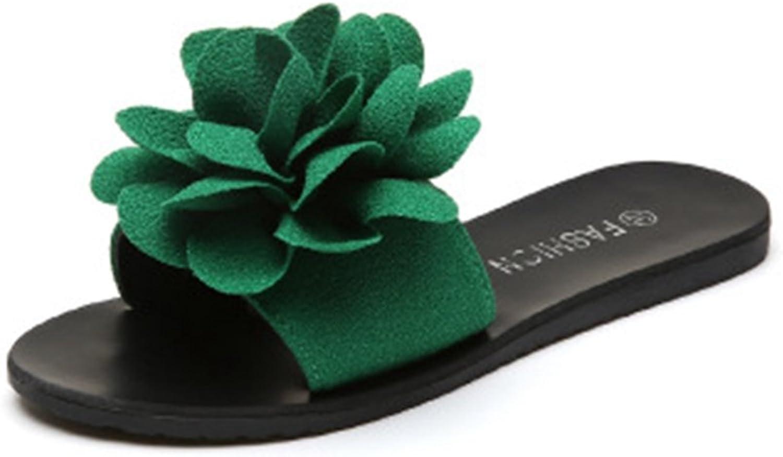 GIY Women Fashion Lace Flower Bohemian Slides Sandals Flat Anti-Slip Outdoor Summer Beach Sandals