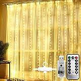 WOWDSGN Luci Tenda Luminosa 3x3m, Luce per Tende 300 LED a USB con Telecomando 8 Modalità di Illuminazione, Tenda Luminosa Impermeabile IP65 per Interni che Esterni, Led Tenda Bianco Caldo