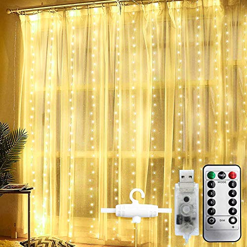 WOWDSGN Lichtervorhang 3m x 3m 300LEDs USB Lichterkette Vorhang mit 8 Leuchtmodi Wasserdicht Warmweiß Ideal für Weihnachten Geburtstage Party Hochzeiten Fenster etc.